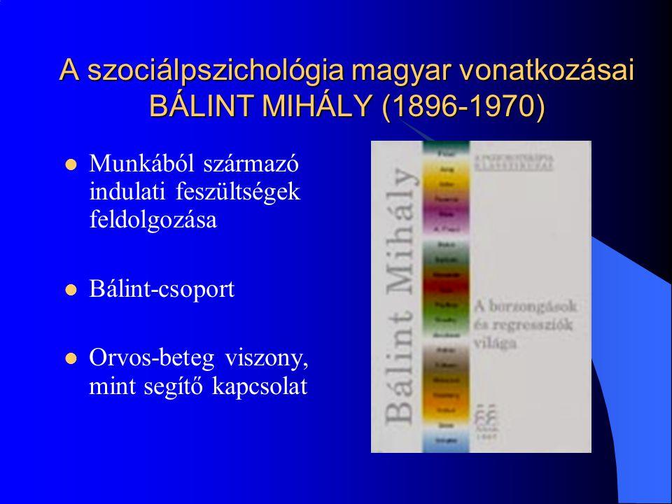 A szociálpszichológia magyar vonatkozásai BÁLINT MIHÁLY (1896-1970)