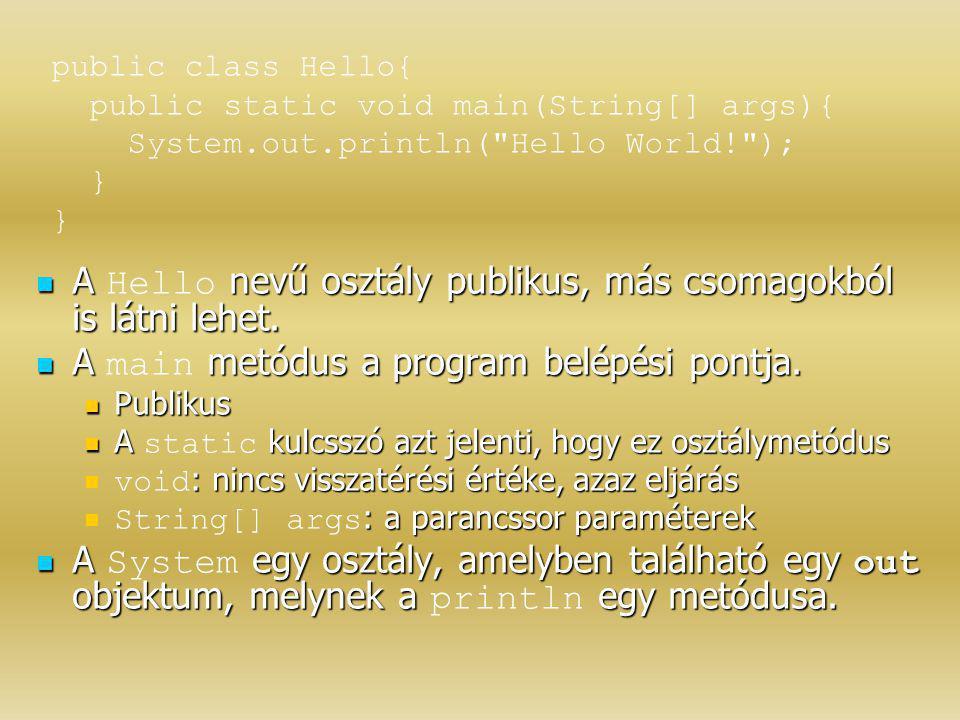 A Hello nevű osztály publikus, más csomagokból is látni lehet.