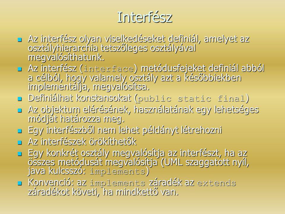 Interfész Az interfész olyan viselkedéseket definiál, amelyet az osztályhierarchia tetszőleges osztályával megvalósíthatunk.
