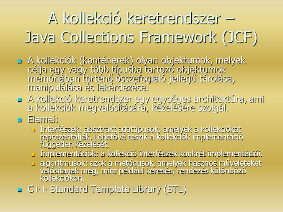 A kollekció keretrendszer – Java Collections Framework (JCF)