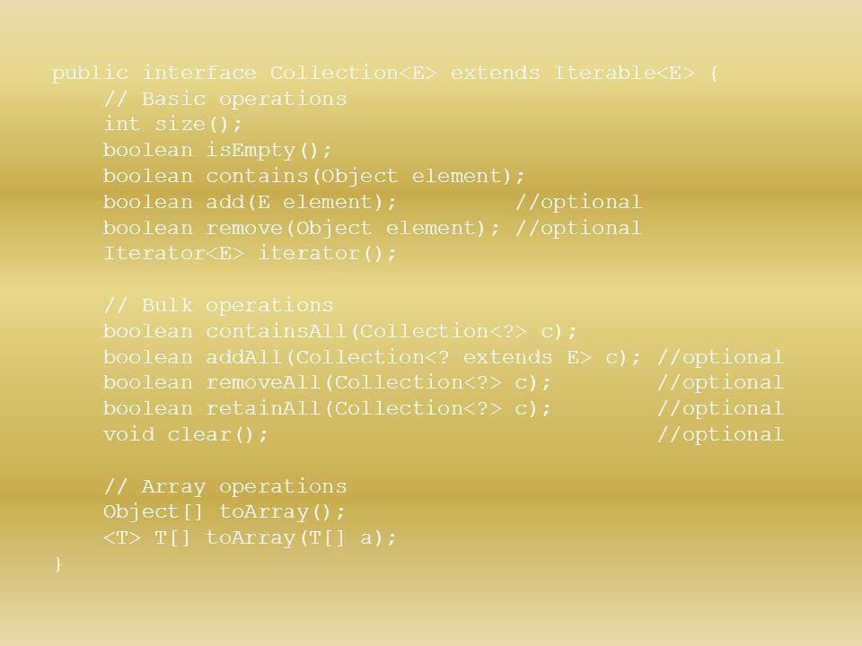 public interface Collection<E> extends Iterable<E> {