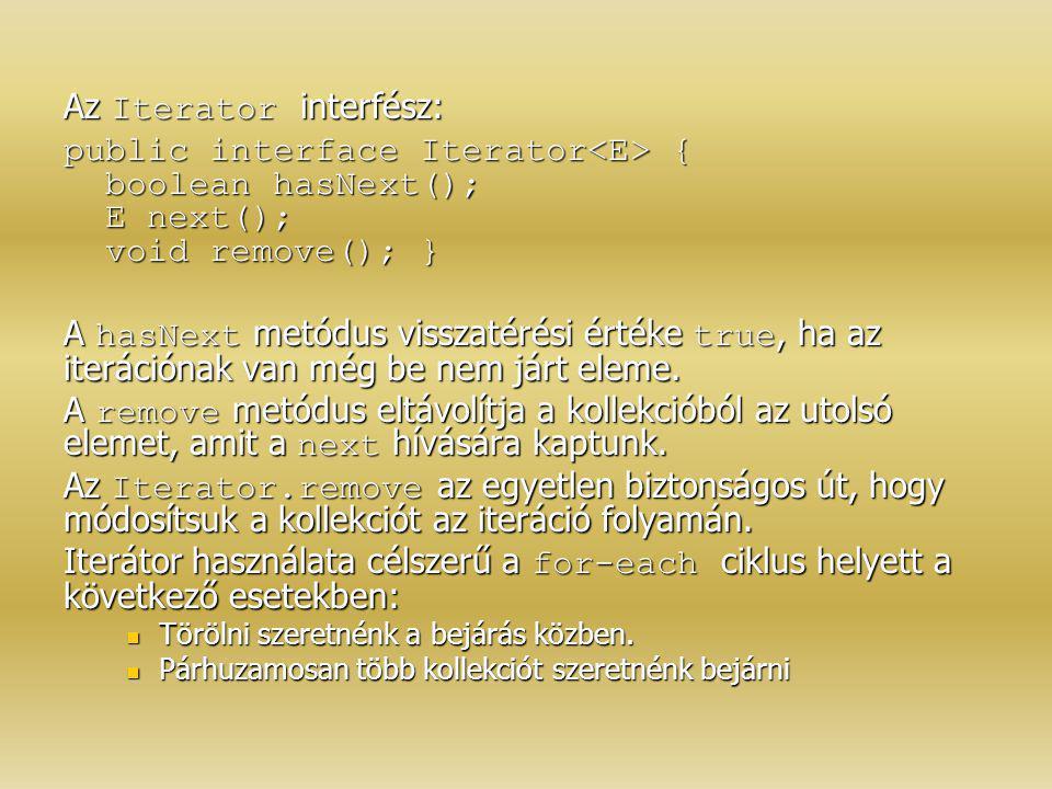 Az Iterator interfész: