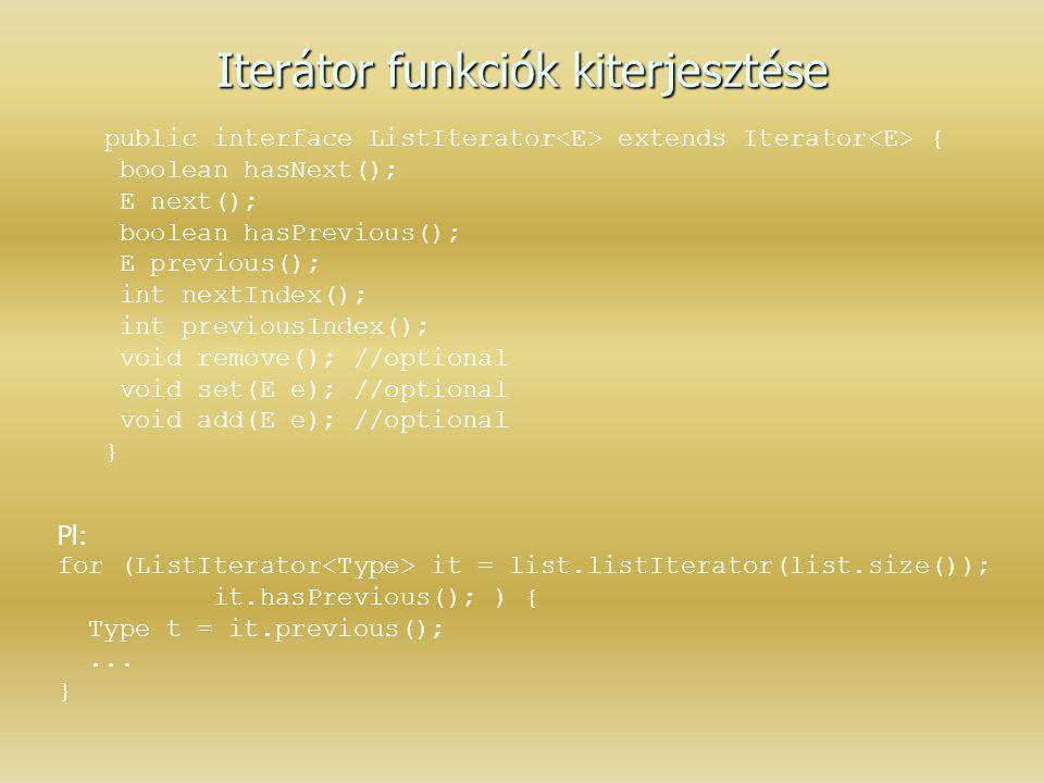 Iterátor funkciók kiterjesztése