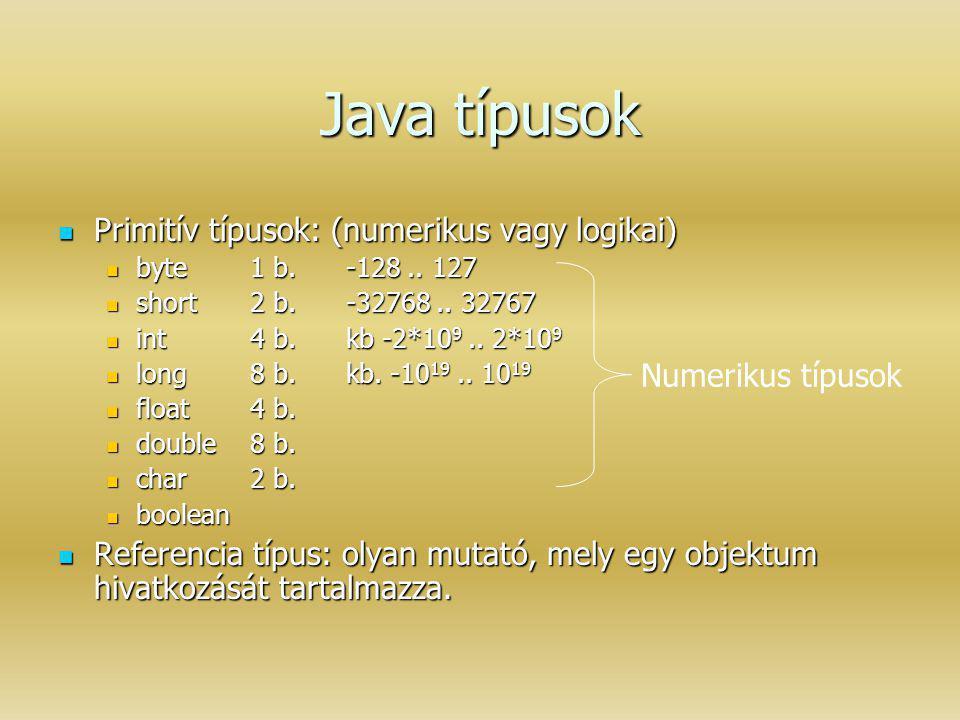 Java típusok Primitív típusok: (numerikus vagy logikai)