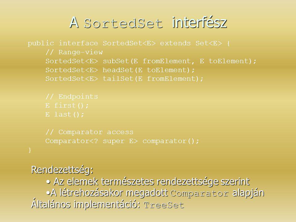 A SortedSet interfész Rendezettség: