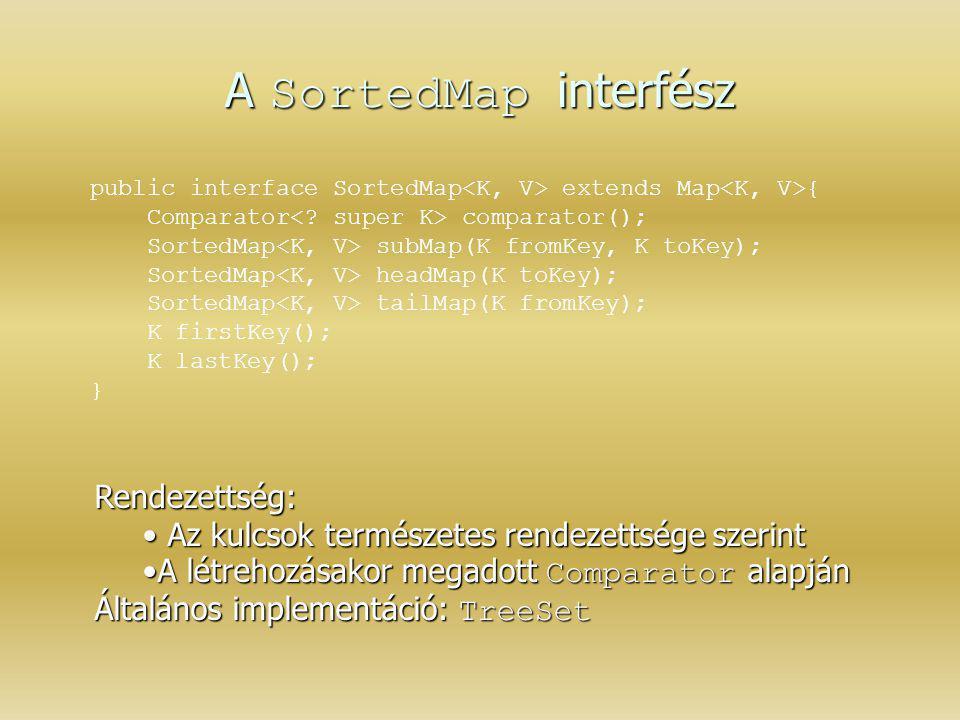 A SortedMap interfész Rendezettség: