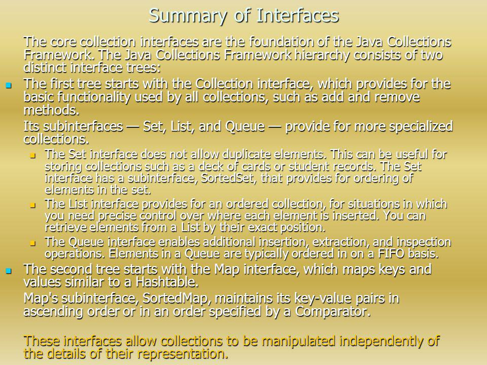Summary of Interfaces