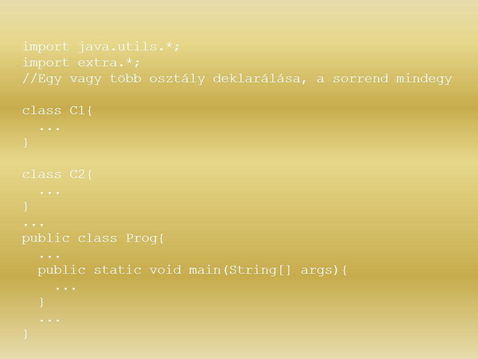import java.utils.*; import extra.*; //Egy vagy több osztály deklarálása, a sorrend mindegy. class C1{