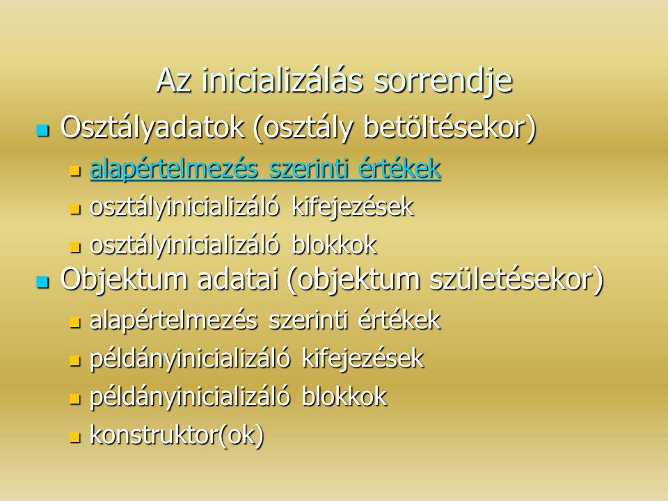 Az inicializálás sorrendje