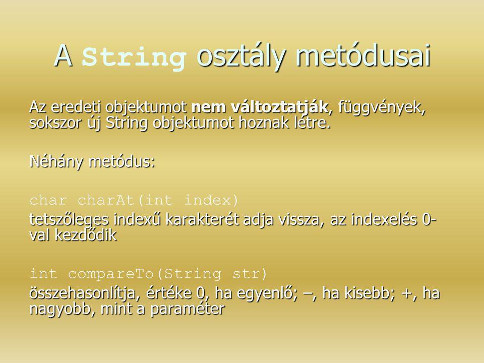 A String osztály metódusai