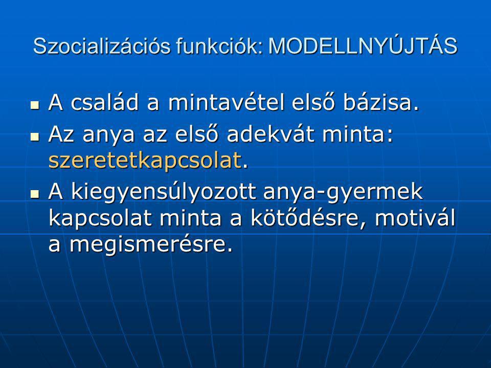 Szocializációs funkciók: MODELLNYÚJTÁS