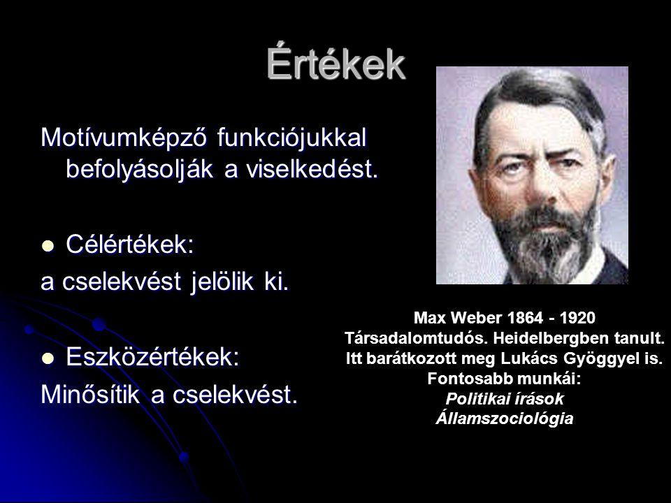 Max Weber 1864 - 1920 Társadalomtudós. Heidelbergben tanult.