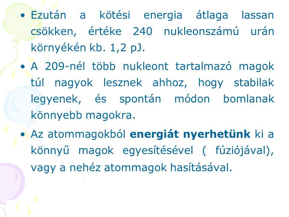Ezután a kötési energia átlaga lassan csökken, értéke 240 nukleonszámú urán környékén kb. 1,2 pJ.