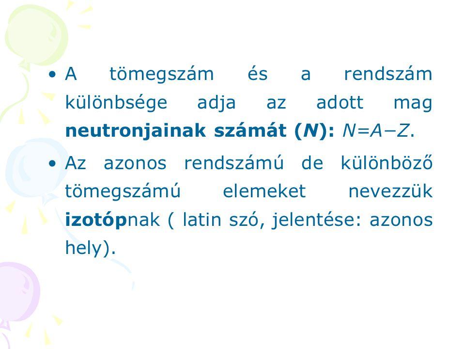 A tömegszám és a rendszám különbsége adja az adott mag neutronjainak számát (N): N=A−Z.