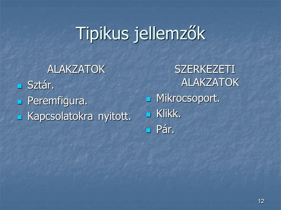 Tipikus jellemzők ALAKZATOK Sztár. Peremfigura. Kapcsolatokra nyitott.