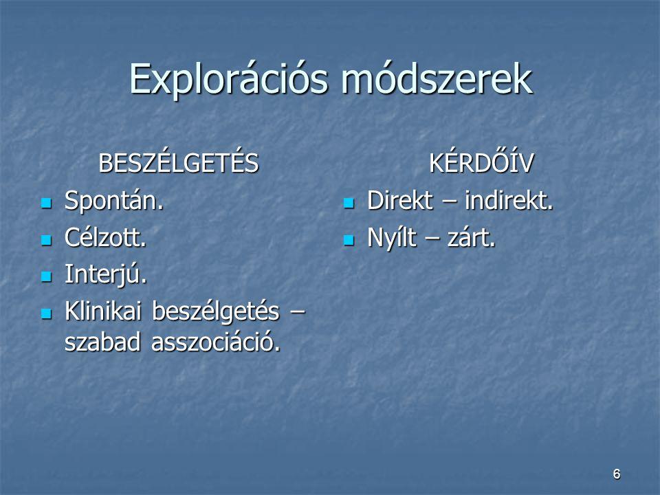 Explorációs módszerek
