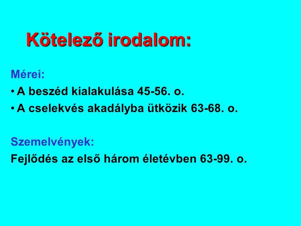 Kötelező irodalom: Mérei: A beszéd kialakulása 45-56. o.
