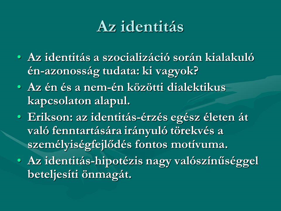 Az identitás Az identitás a szocializáció során kialakuló én-azonosság tudata: ki vagyok Az én és a nem-én közötti dialektikus kapcsolaton alapul.