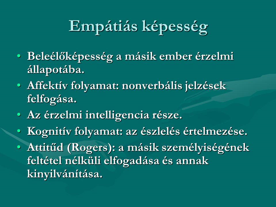 Empátiás képesség Beleélőképesség a másik ember érzelmi állapotába.