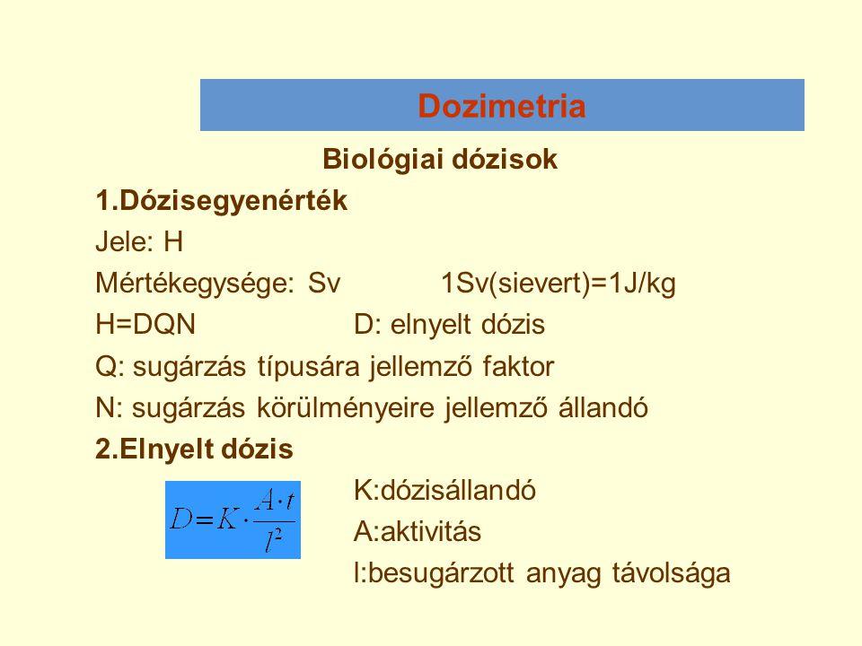 Dozimetria Biológiai dózisok 1.Dózisegyenérték Jele: H