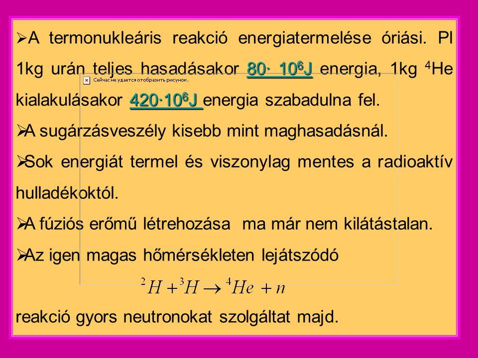 A sugárzásveszély kisebb mint maghasadásnál.