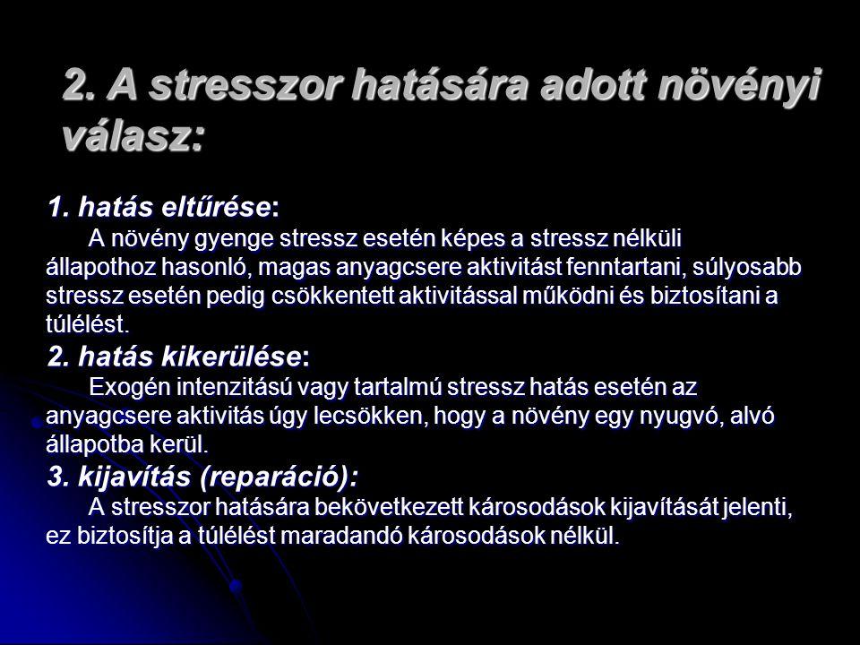 2. A stresszor hatására adott növényi válasz: