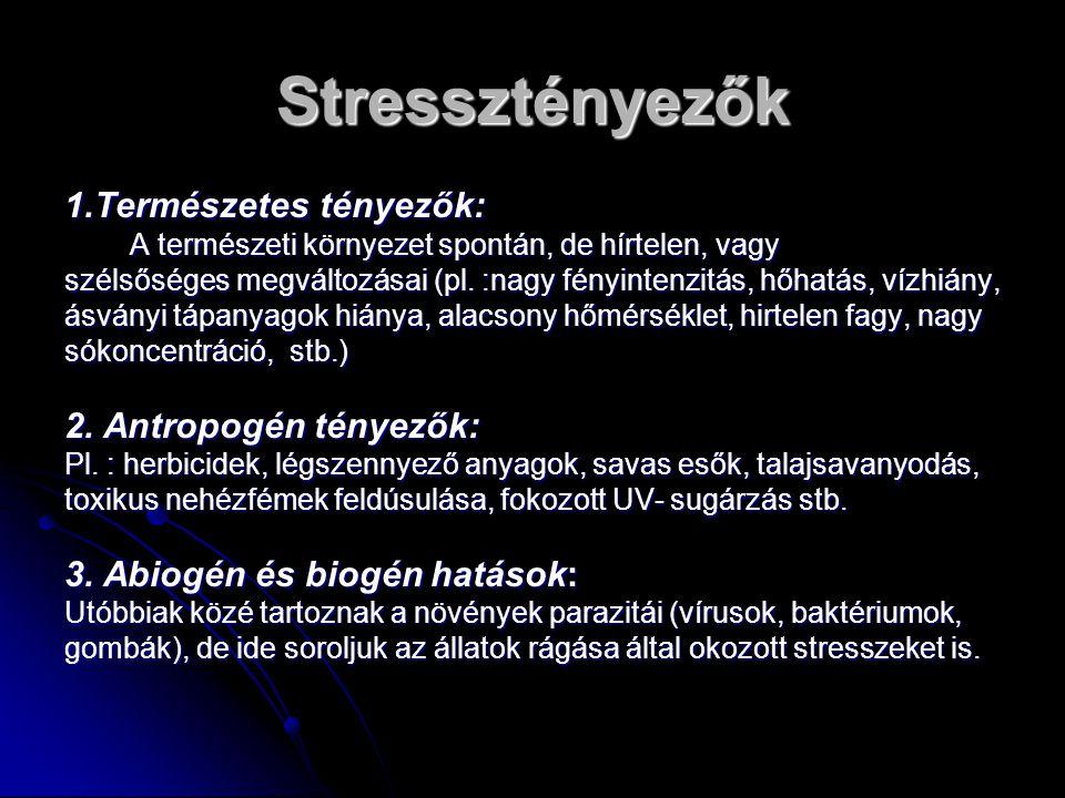 Stressztényezők 1.Természetes tényezők: 2. Antropogén tényezők: