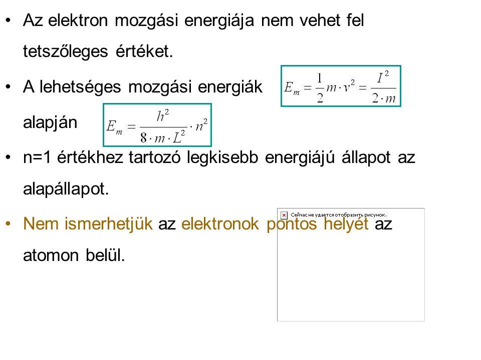Az elektron mozgási energiája nem vehet fel tetszőleges értéket.