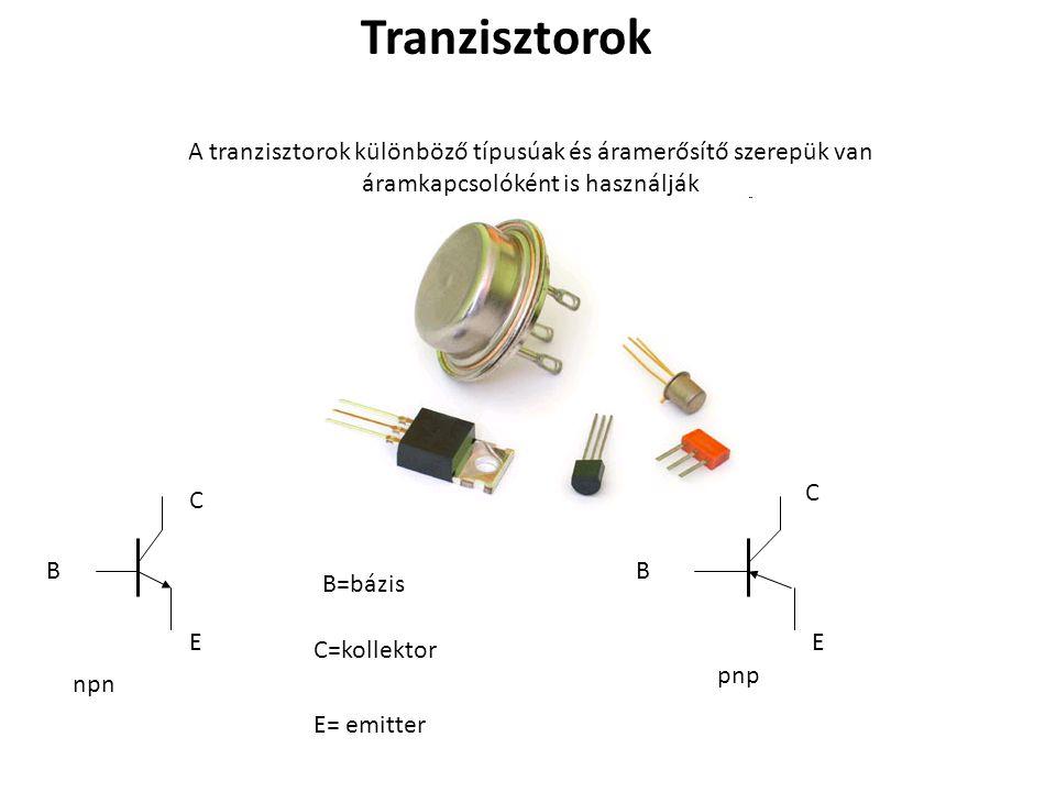 Tranzisztorok A tranzisztorok különböző típusúak és áramerősítő szerepük van áramkapcsolóként is használják.