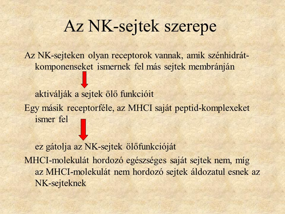 Az NK-sejtek szerepe Az NK-sejteken olyan receptorok vannak, amik szénhidrát-komponenseket ismernek fel más sejtek membránján.