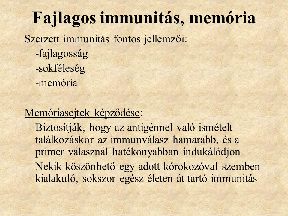 Fajlagos immunitás, memória
