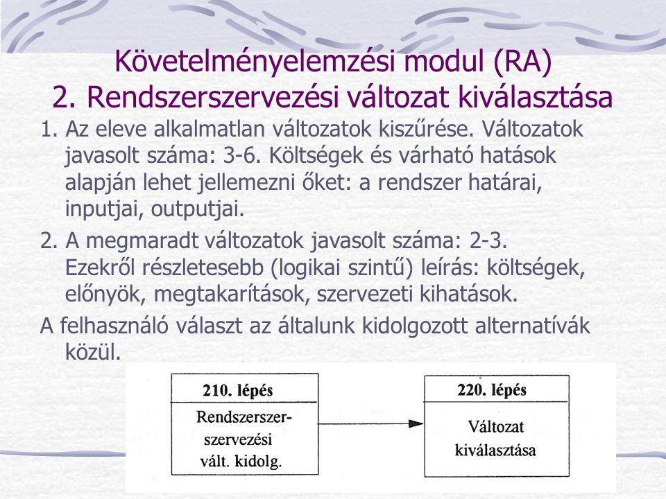 Követelményelemzési modul (RA) 2