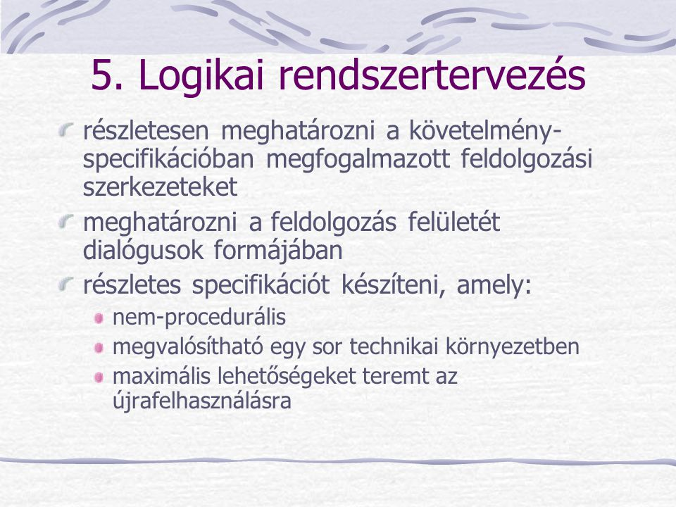 5. Logikai rendszertervezés