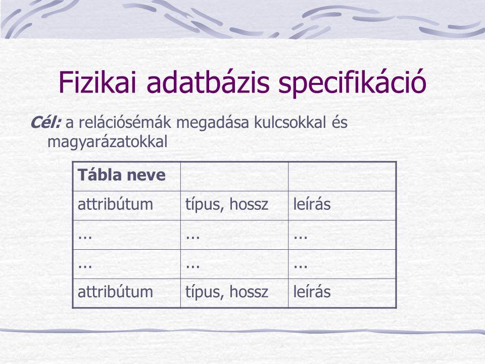Fizikai adatbázis specifikáció