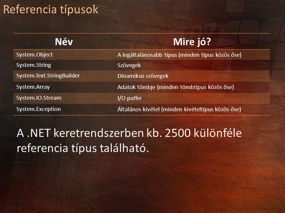 A .NET keretrendszerben kb. 2500 különféle referencia típus található.