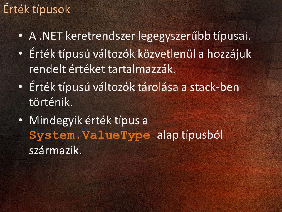 A .NET keretrendszer legegyszerűbb típusai.