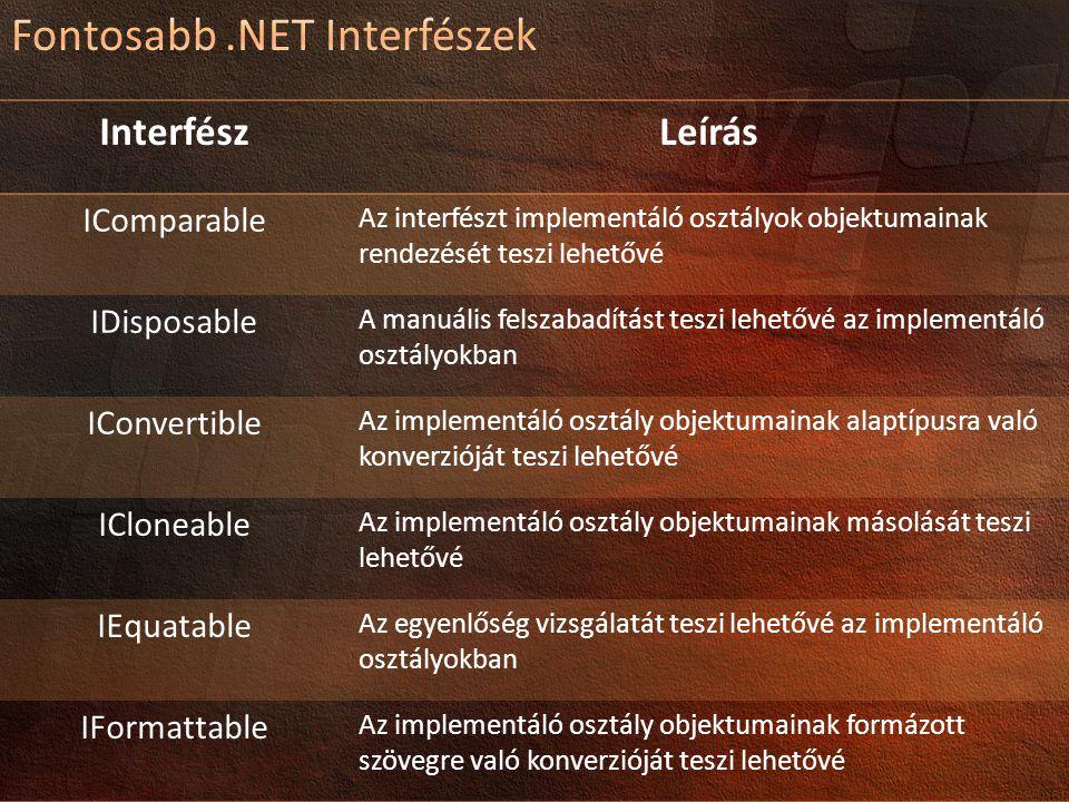 Fontosabb .NET Interfészek