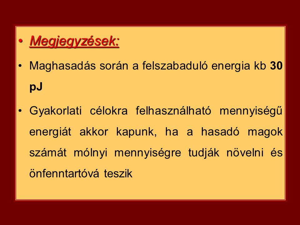 Megjegyzések: Maghasadás során a felszabaduló energia kb 30 pJ