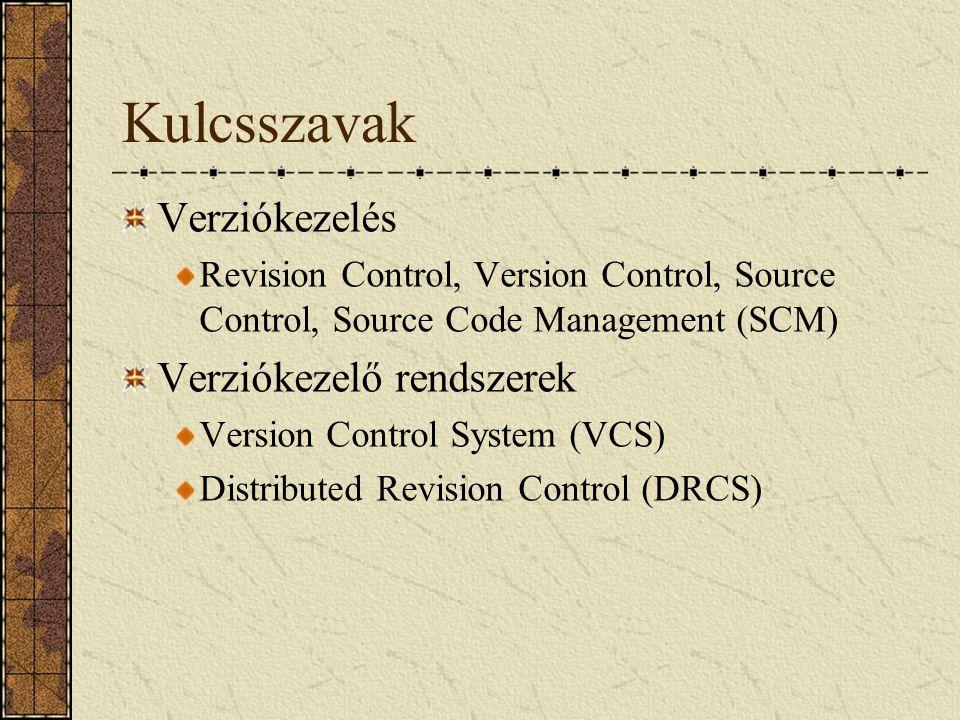 Kulcsszavak Verziókezelés Verziókezelő rendszerek