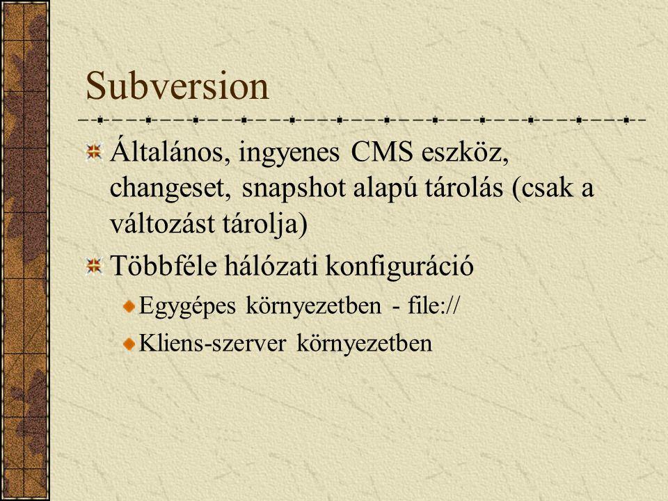 Subversion Általános, ingyenes CMS eszköz, changeset, snapshot alapú tárolás (csak a változást tárolja)
