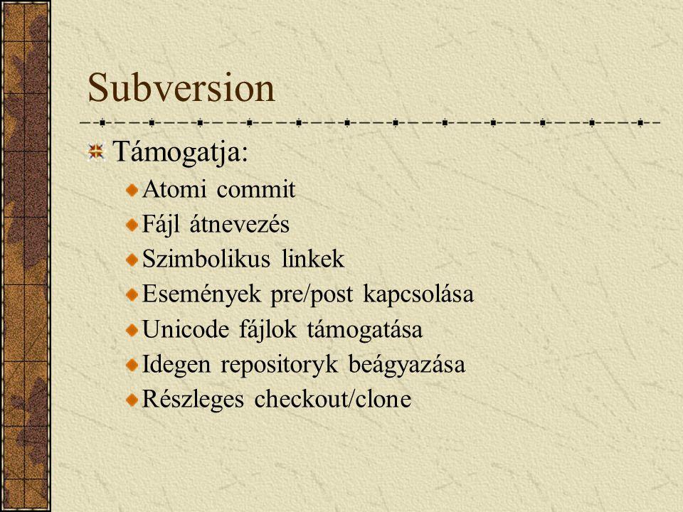 Subversion Támogatja: Atomi commit Fájl átnevezés Szimbolikus linkek
