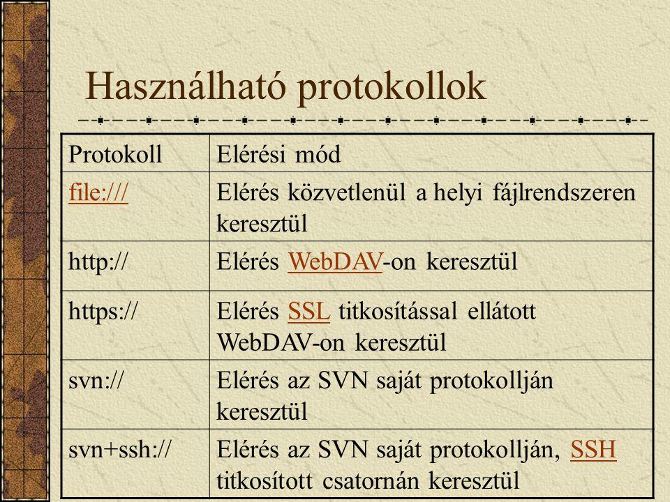 Használható protokollok