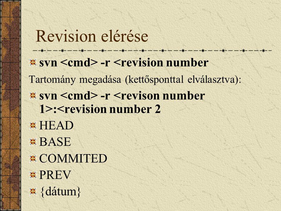 Revision elérése svn <cmd> -r <revision number