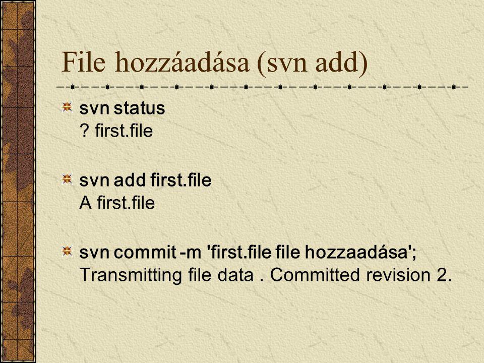 File hozzáadása (svn add)