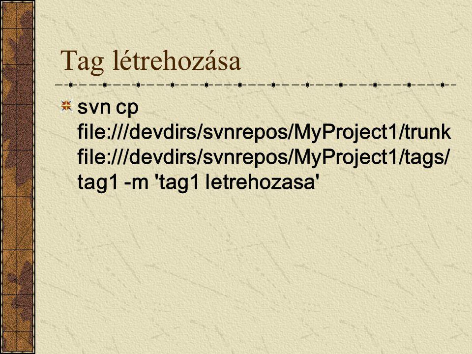 Tag létrehozása svn cp file:///devdirs/svnrepos/MyProject1/trunk file:///devdirs/svnrepos/MyProject1/tags/tag1 -m tag1 letrehozasa