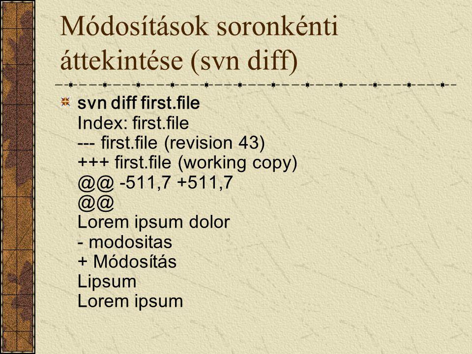 Módosítások soronkénti áttekintése (svn diff)