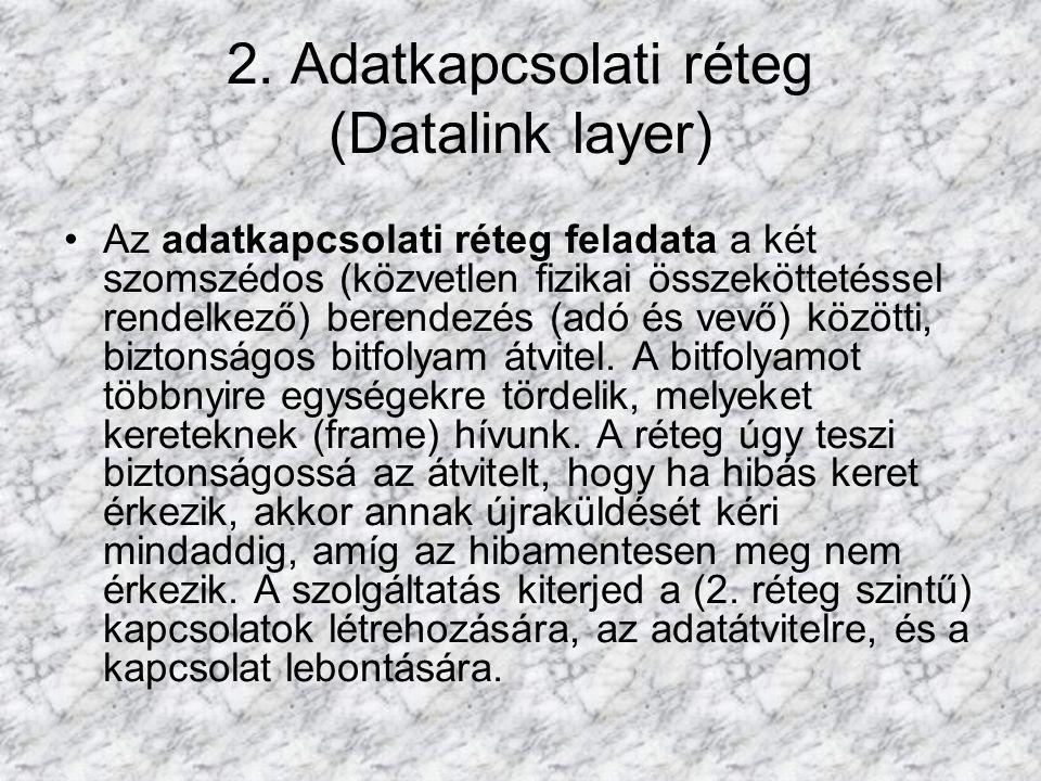 2. Adatkapcsolati réteg (Datalink layer)