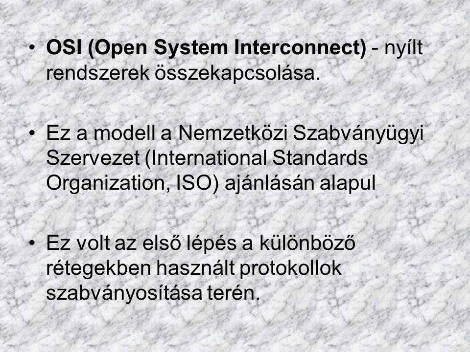 OSI (Open System Interconnect) - nyílt rendszerek összekapcsolása.