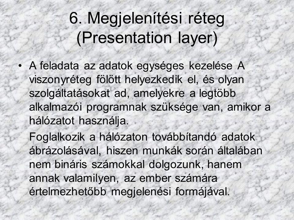 6. Megjelenítési réteg (Presentation layer)