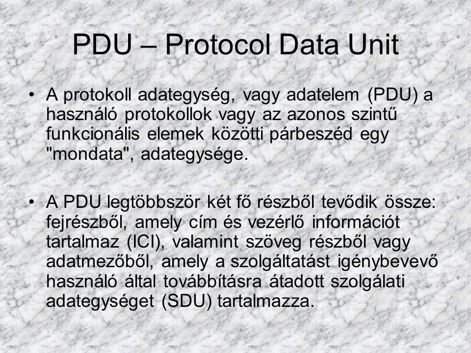 PDU – Protocol Data Unit